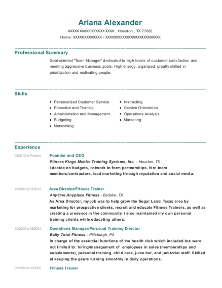 Founder and CEO resume sample Texas