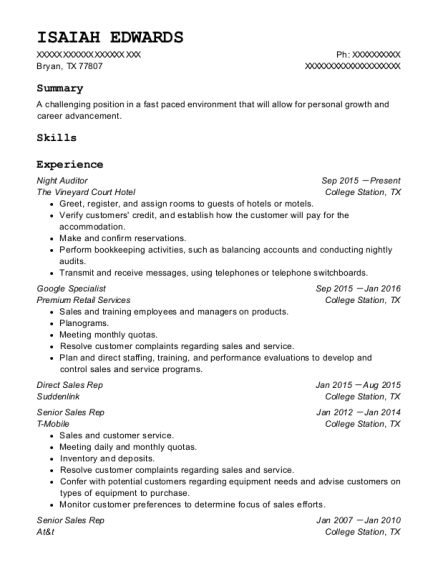 Night Auditor resume sample Texas