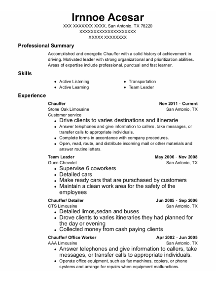 Chauffer resume example Texas