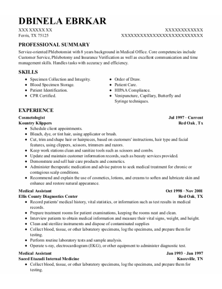 Cosmetologist resume template Texas