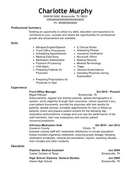 Front Office Manager resume template Texas
