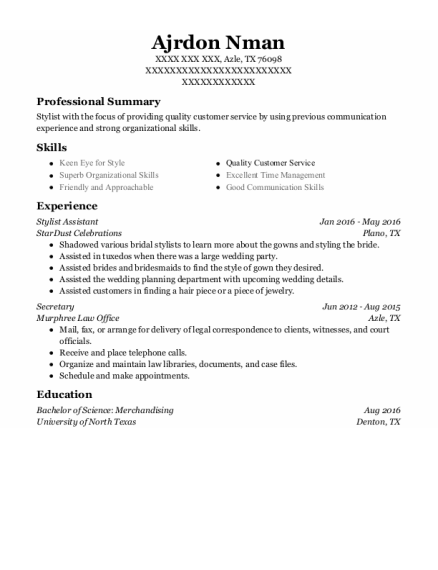Stylist Assistant resume template Texas