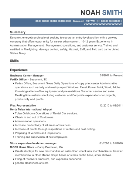 Business Center Manager resume example Texas