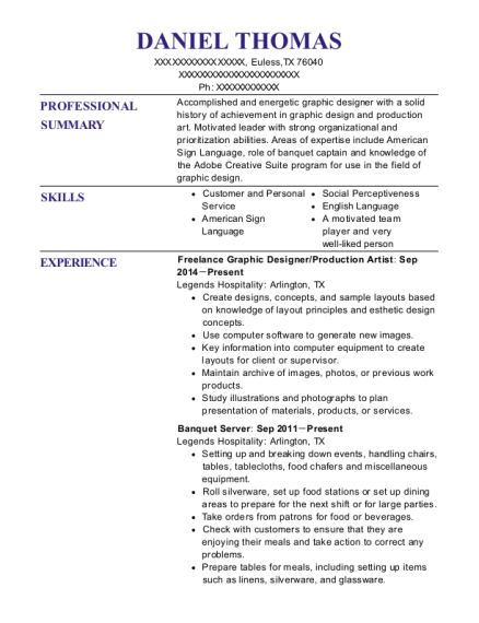 Freelance Graphic Designer resume example Texas