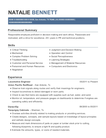 Locomotive Engineer resume format Texas