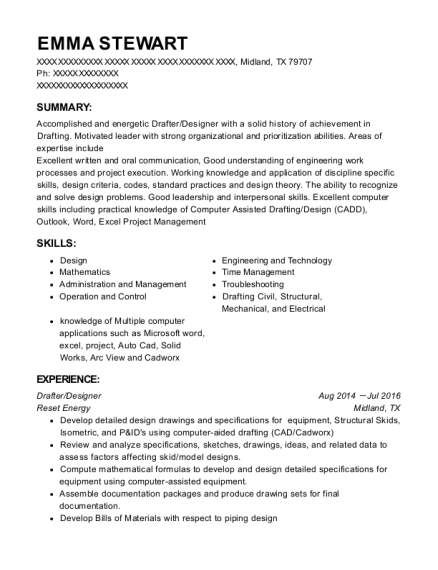 Drafter resume example Texas