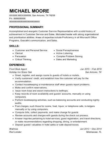 Front Desk Agent resume example Texas
