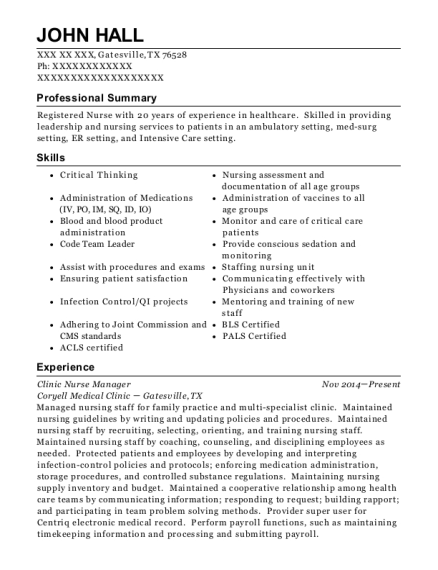 Clinic Nurse Manager resume format Texas