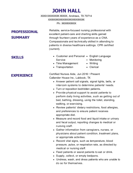 Certified Nurses Aide resume example Texas
