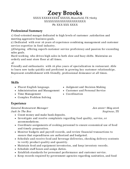 General Restaurant Manager resume example Texas