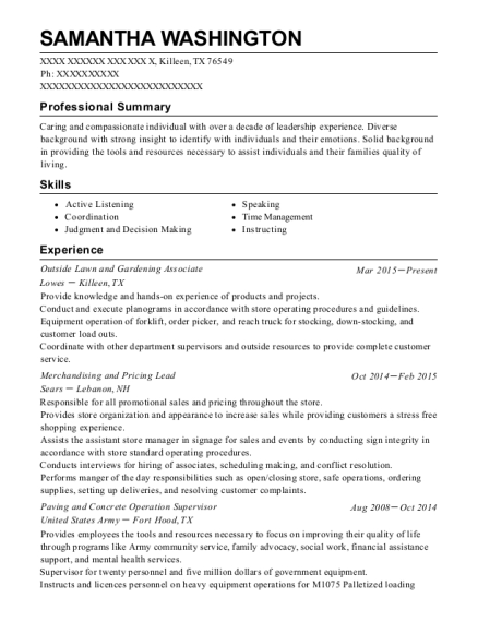 Outside Lawn and Gardening Associate resume sample Texas