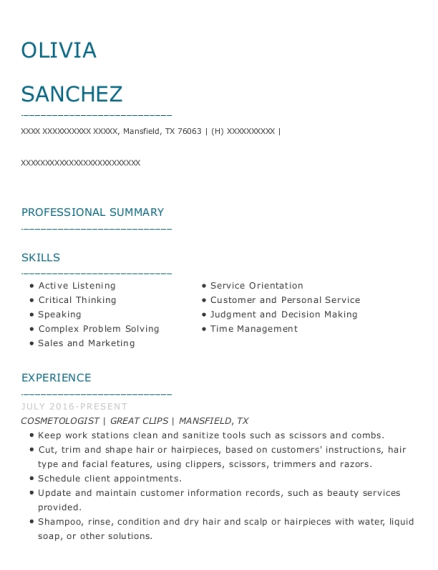 Cosmetologist resume sample Texas