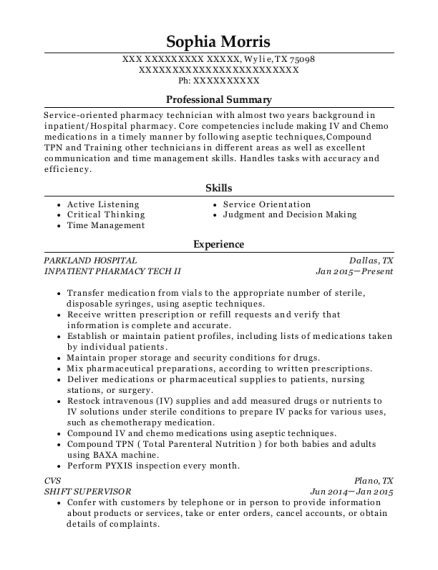 INPATIENT PHARMACY TECH II resume example Texas