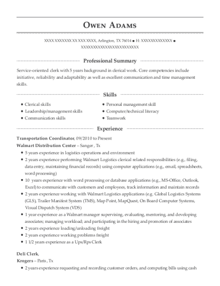 Transportation Coordinator resume sample Texas