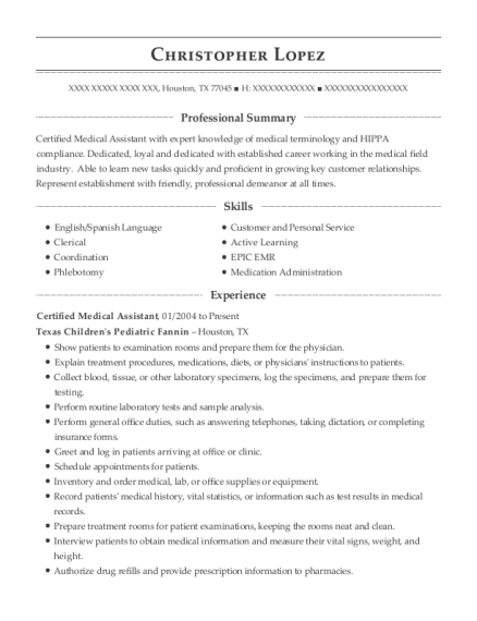Certified Medical Assistant resume sample Texas