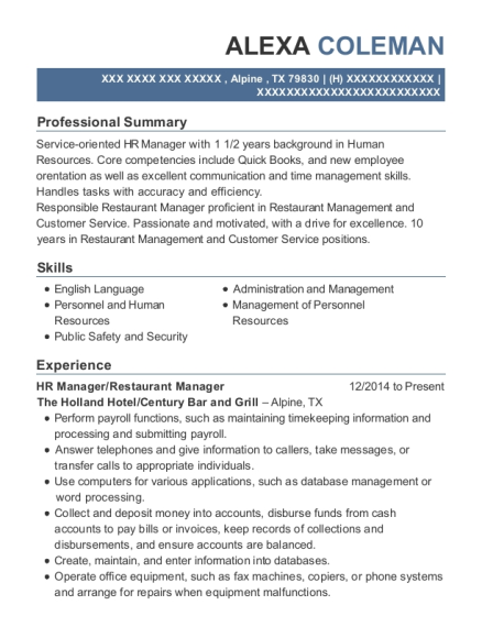 HR Manager resume format Texas
