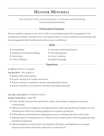 c resume example Texas