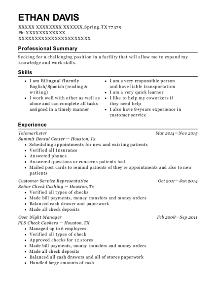 Telemarketer resume template Texas
