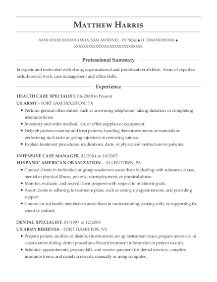 HEALTH CARE SPECIALIST resume template Texas