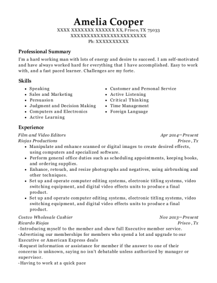 Film and Video Editors resume example Texas