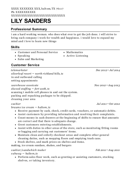 Telemarketer resume example Texas