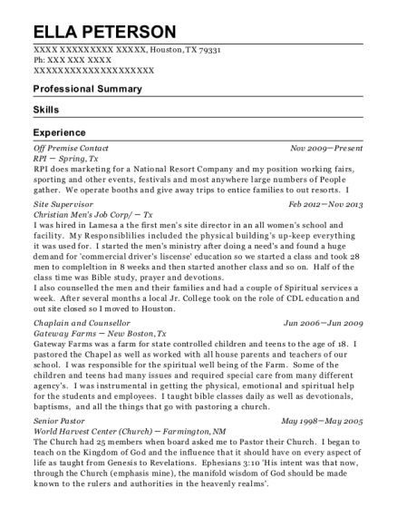 Off Premise Contact resume template Texas