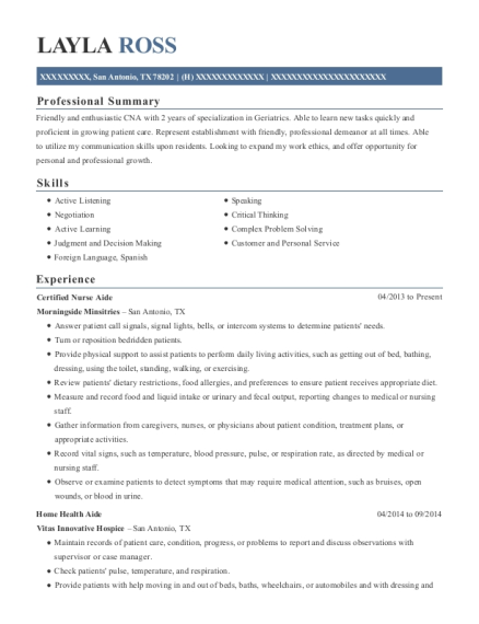 Certified Nurse Aide resume sample Texas