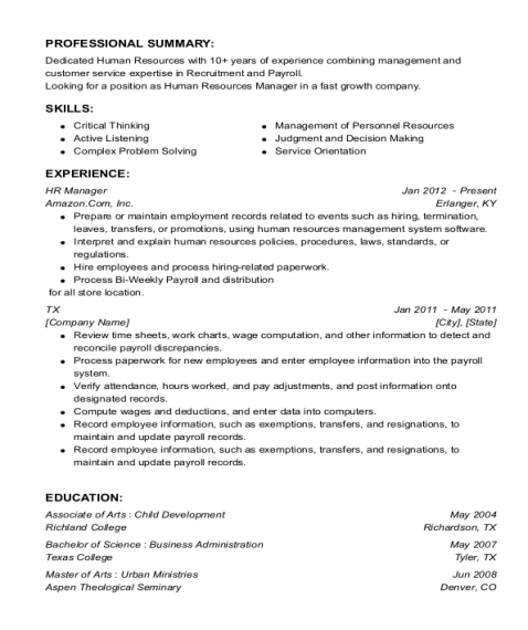 HR Manager resume template Texas