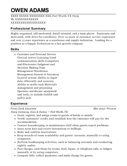 Front Desk Associate resume sample Texas