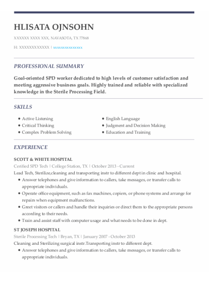 Sterile Processing Tech resume format Texas