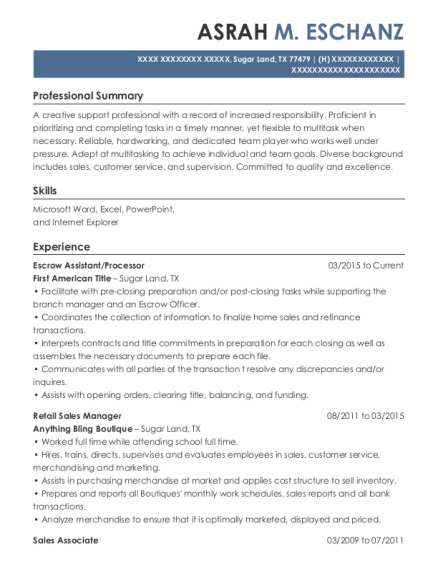 Escrow Assistant resume sample Texas