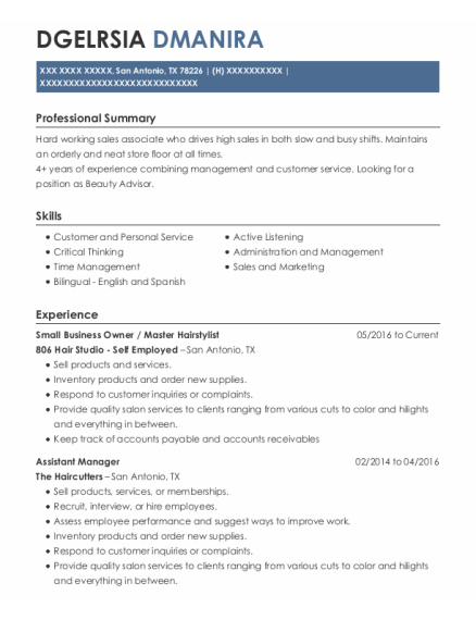 Small Business Owner resume format Texas