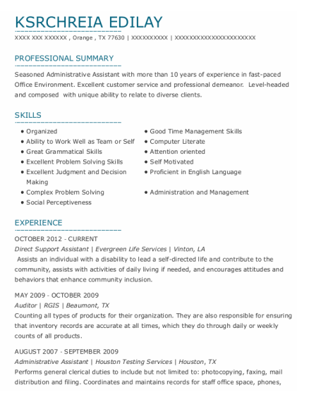 Direct Support Assistant resume template Texas