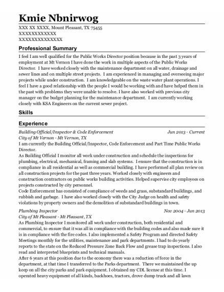 Journeyman Plumber resume format Texas