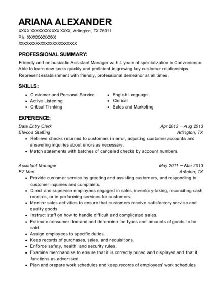 Data Entry Clerk resume format Texas