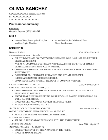 Manager trainee resume template Texas