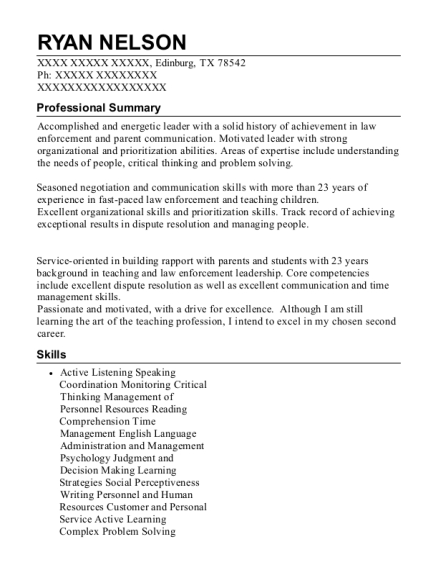 Adjunct Professor in Criminal Justice and Math resume template Texas