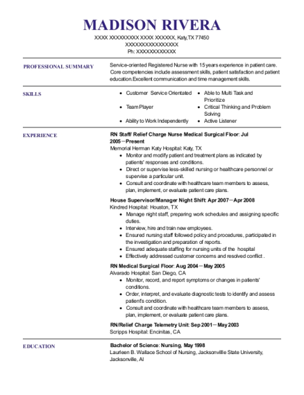RN Staff resume sample Texas