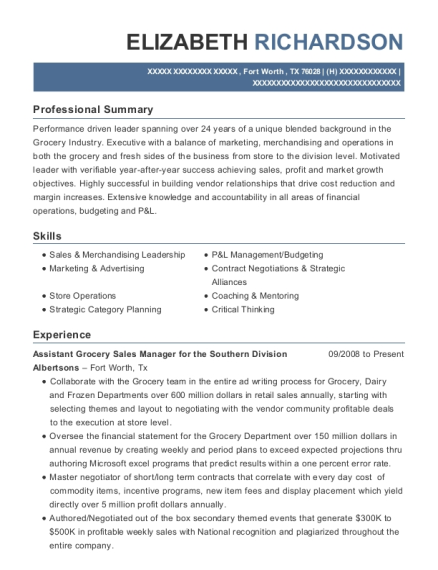 Assistant Grocery Sales Manager for the Southern Division resume format Texas