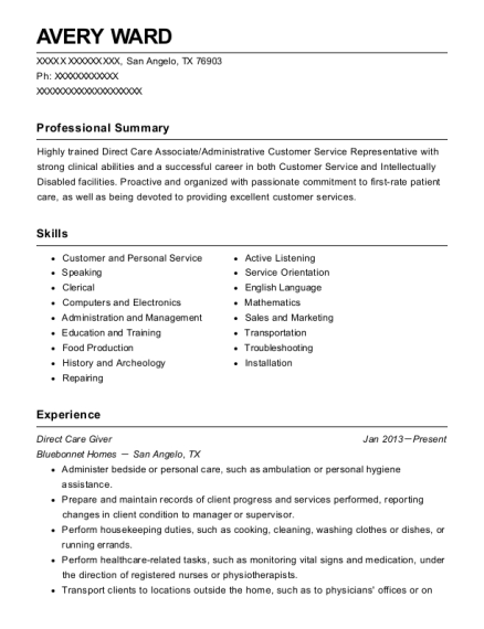Direct Care Giver resume sample Texas