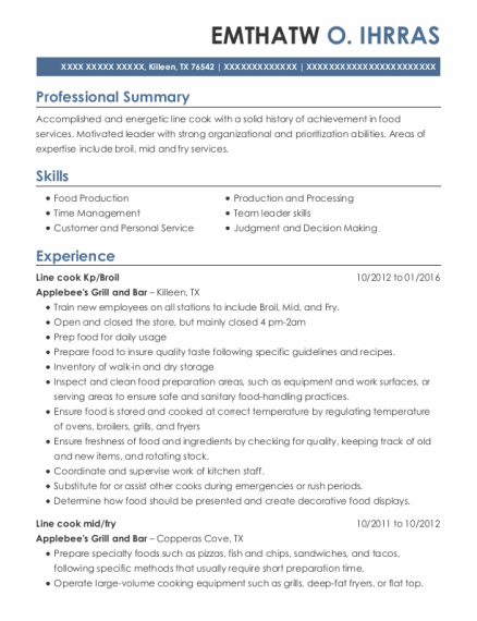 Broil Cook resume sample Texas