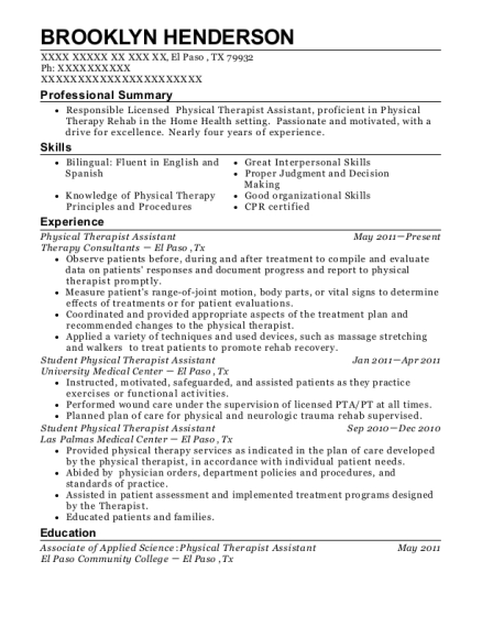 Physical Therapist Assistant resume example Texas