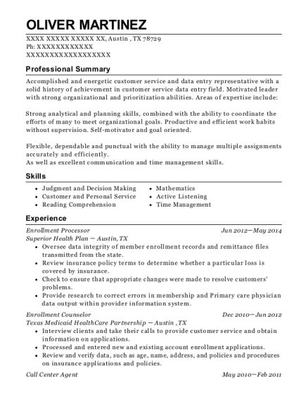 Enrollment Processor resume example Texas