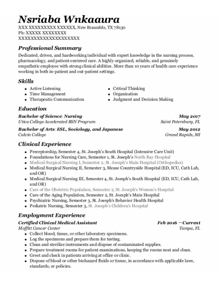 Certified Clinical Medical Assistant resume sample Texas