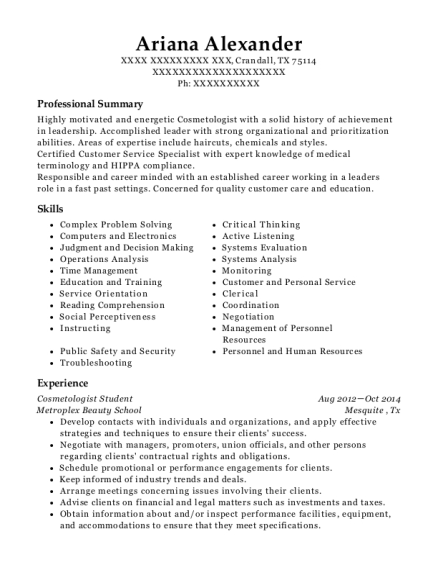 Cosmetologist Student resume example Texas