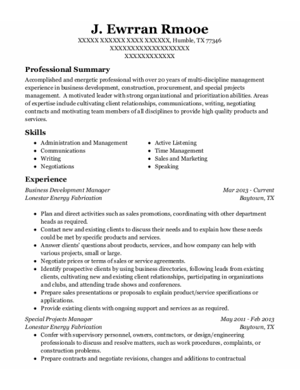 Business Development Manager resume format Texas