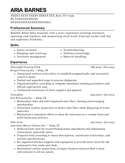 Overnight Grocery Clerk resume format Texas