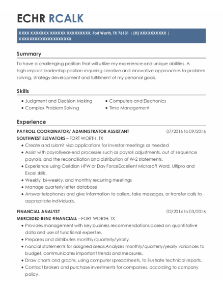 Administrator Assistant resume template Texas