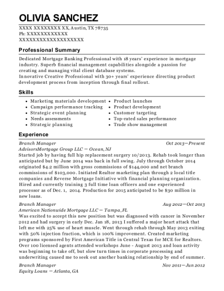 Branch Manager resume example Texas