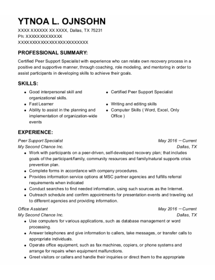 Peer Support Specialist resume template Texas